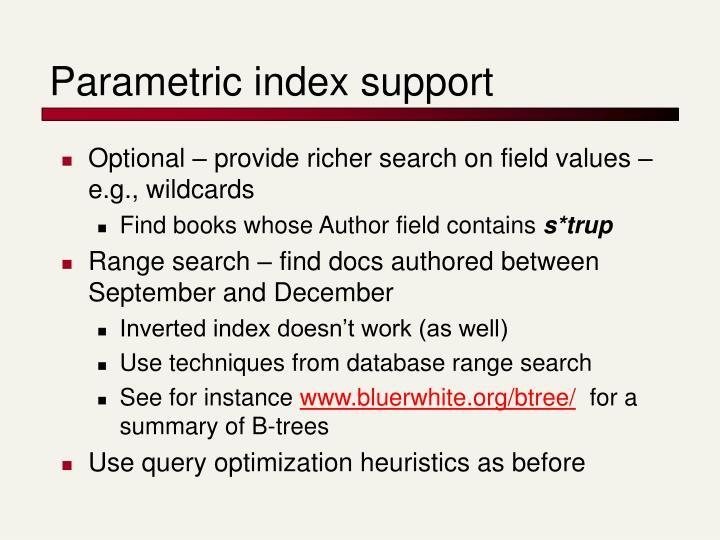 Parametric index support