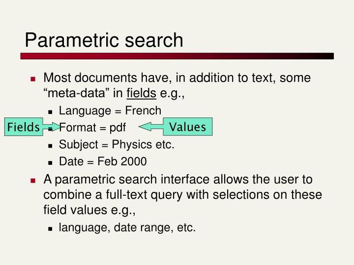 Parametric search
