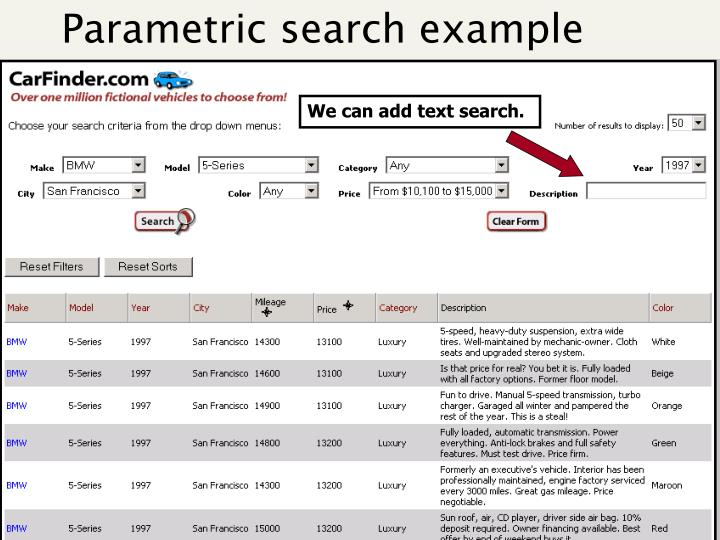 Parametric search example