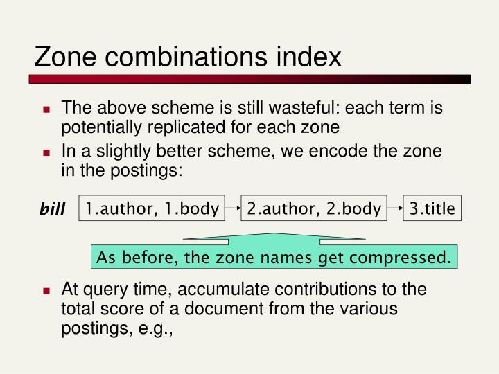Zone combinations index