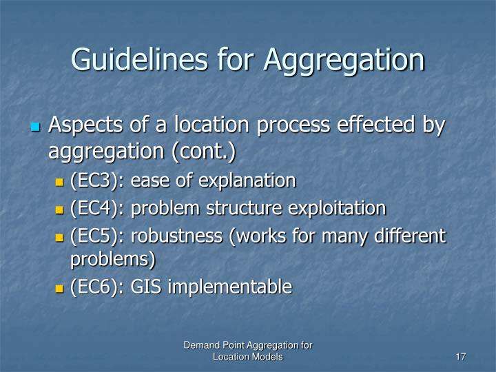 Guidelines for Aggregation