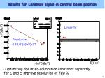 results for cerenkov signal in central beam position