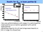 results for q sum in beam position b