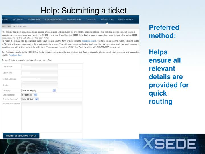 Help: Submitting a ticket