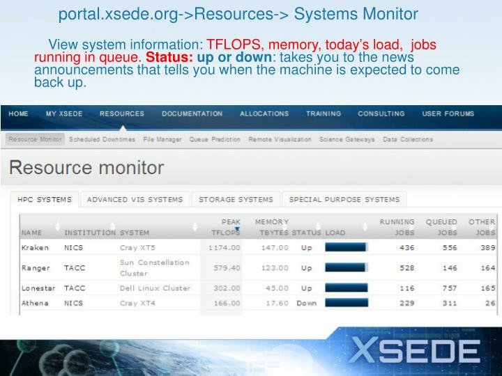 portal.xsede.org->Resources-> Systems Monitor
