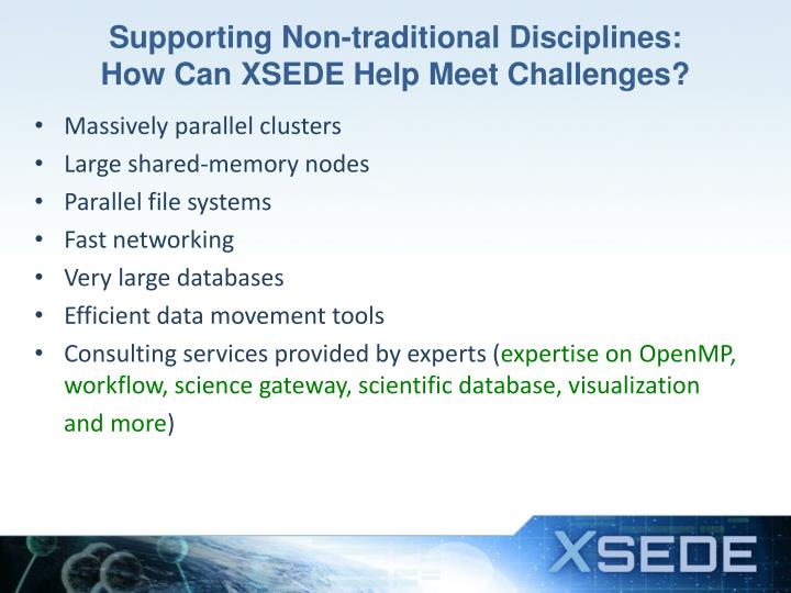 Supporting Non-traditional Disciplines: