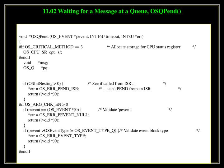 11.02 Waiting for a Message at a Queue, OSQPend()