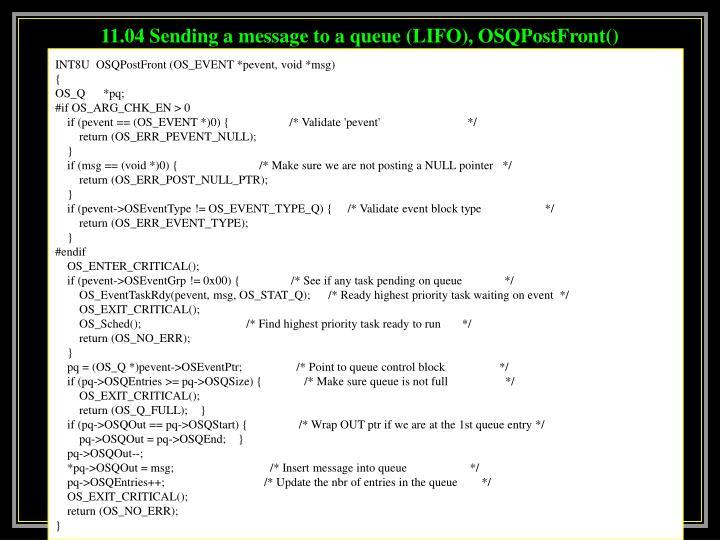 11.04 Sending a message to a queue (LIFO), OSQPostFront()