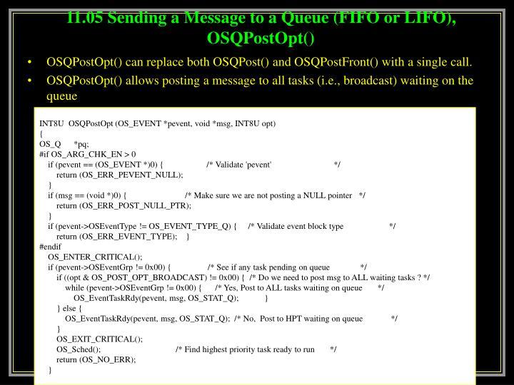 11.05 Sending a Message to a Queue (FIFO or LIFO), OSQPostOpt()