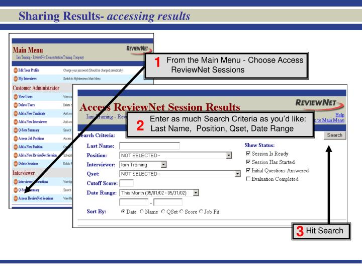 sharing results accessing results n.