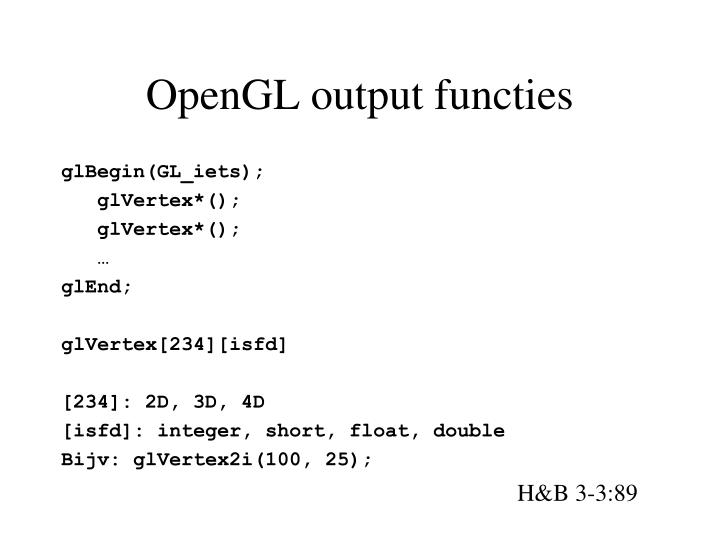 OpenGL output functies