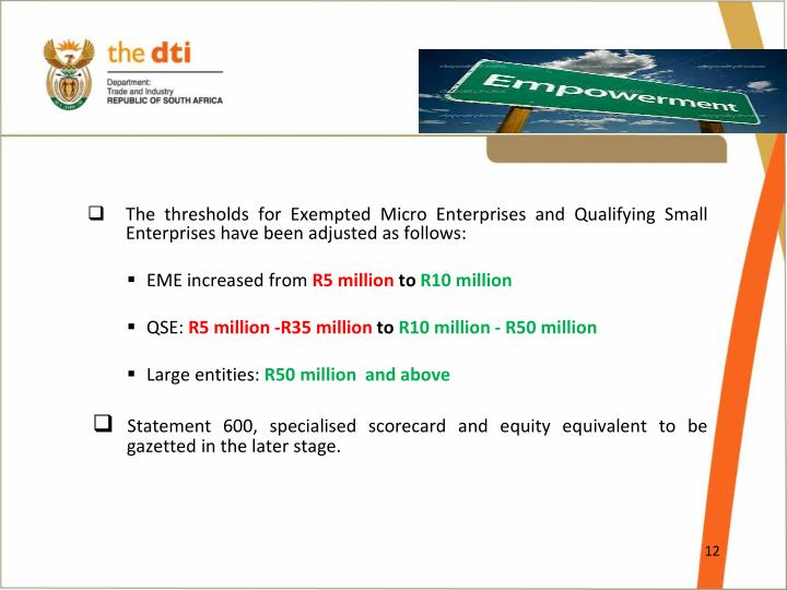 The thresholds for Exempted Micro Enterprises and Qualifying Small  Enterprises have been adjusted as follows:
