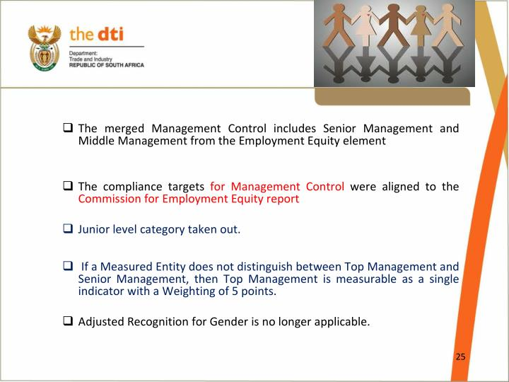 The merged Management Control includes Senior Management and Middle Management from the Employment Equity element