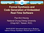 formal synthesis and code generation of embedded real time software