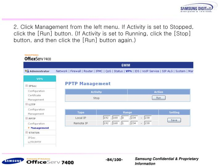 2. Click Management from the left menu.