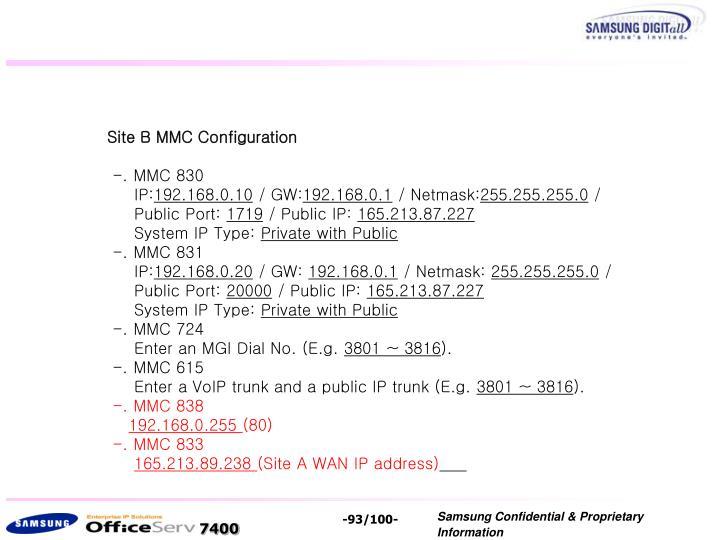 Site B MMC Configuration