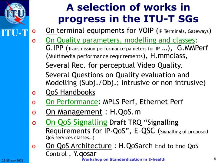 A selection of works in progress in the ITU-T SGs