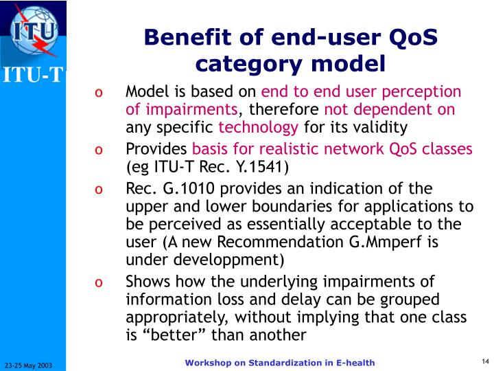 Benefit of end-user QoS category model