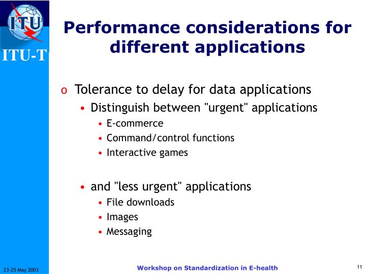 Performance considerations for different applications