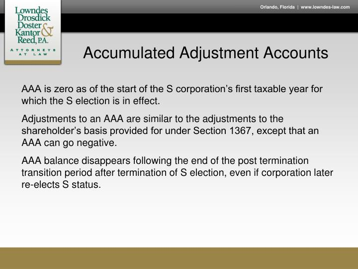Accumulated Adjustment Accounts