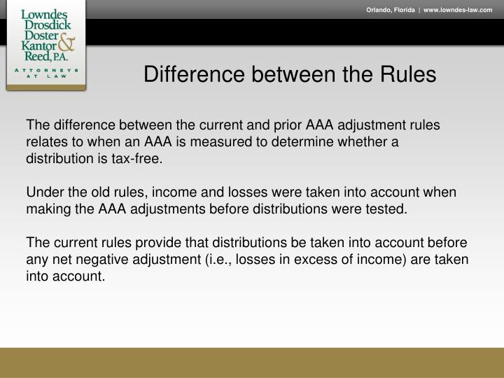 Difference between the Rules