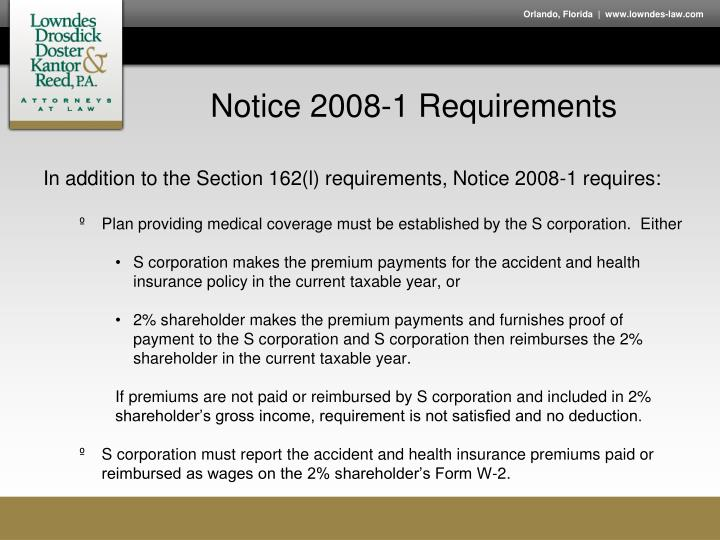 Notice 2008-1 Requirements