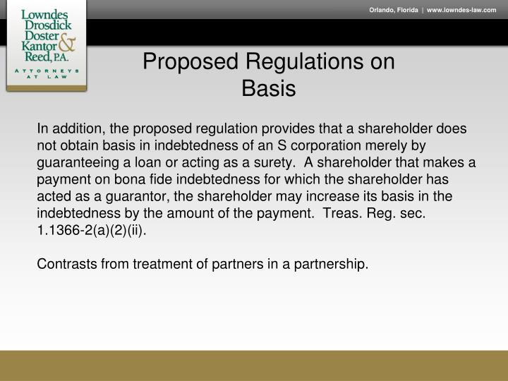 Proposed Regulations on Basis