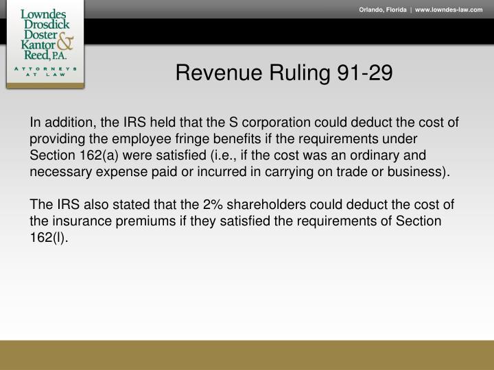 Revenue Ruling 91-29