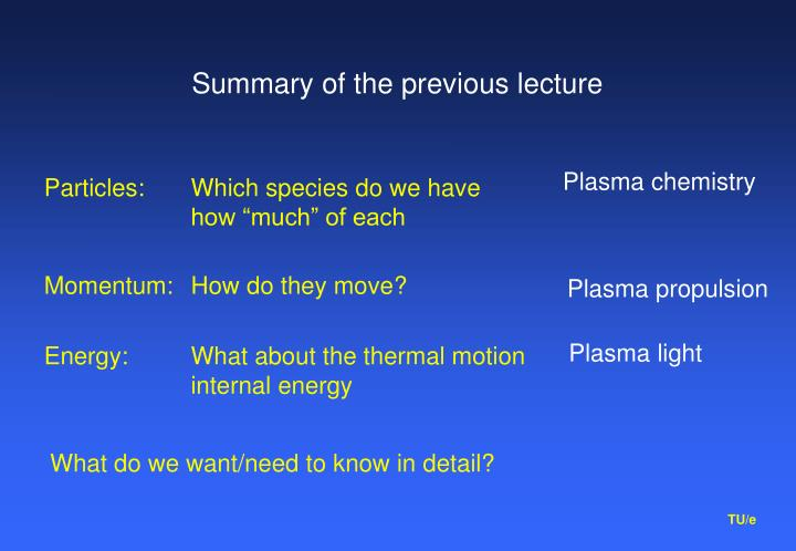 summary of the previous lecture n.