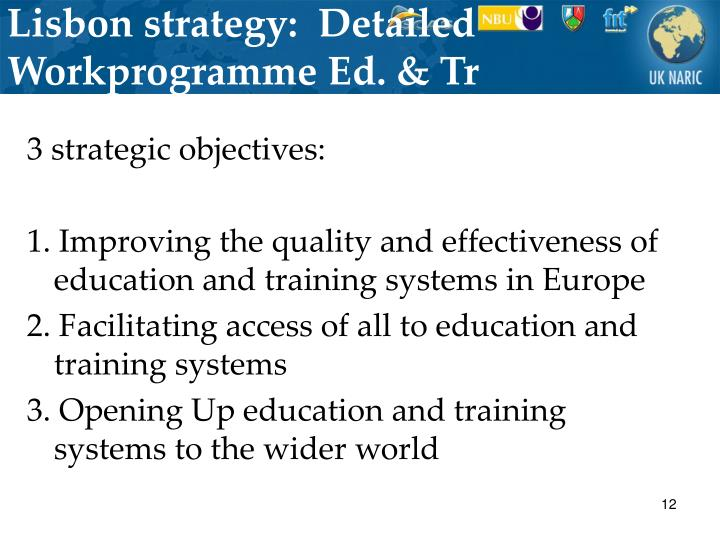 Lisbon strategy:  Detailed Workprogramme Ed. & Tr