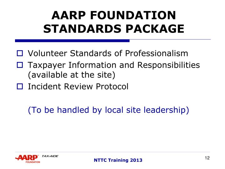 AARP FOUNDATION STANDARDS PACKAGE