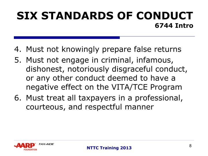 SIX STANDARDS OF CONDUCT