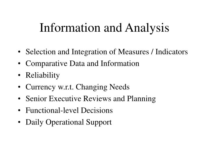 Information and Analysis
