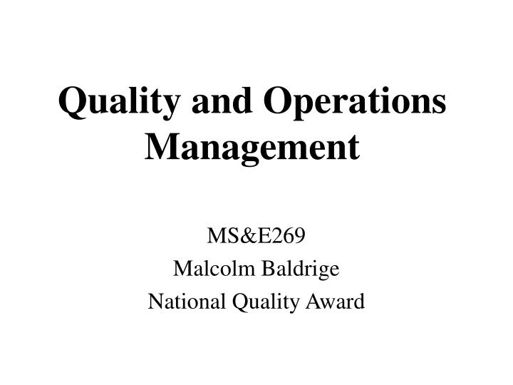 quality and operations management n.