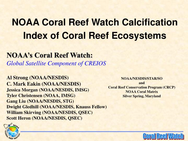Ppt Noaa Coral Reef Watch Calcification Index Of Coral
