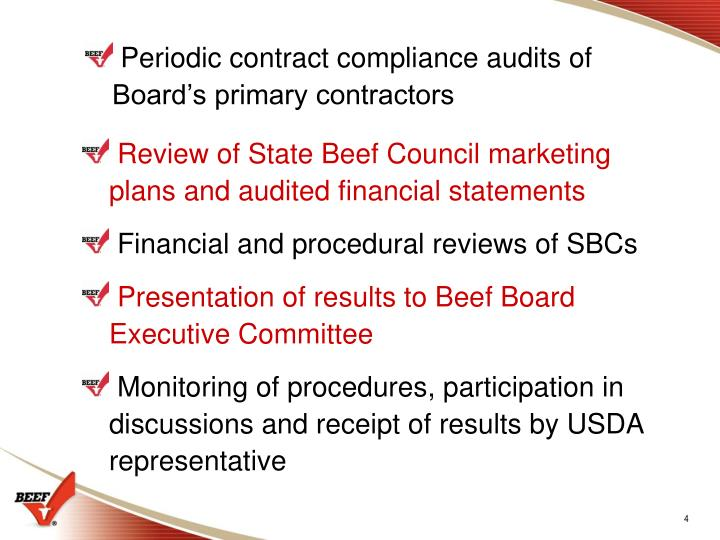 Periodic contract compliance audits of Board's primary contractors