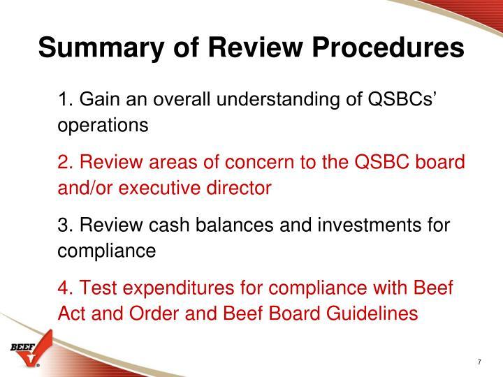 Summary of Review Procedures