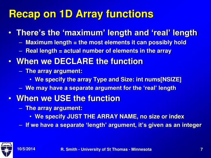 Recap on 1D Array functions