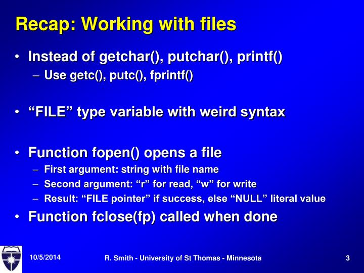 Recap working with files