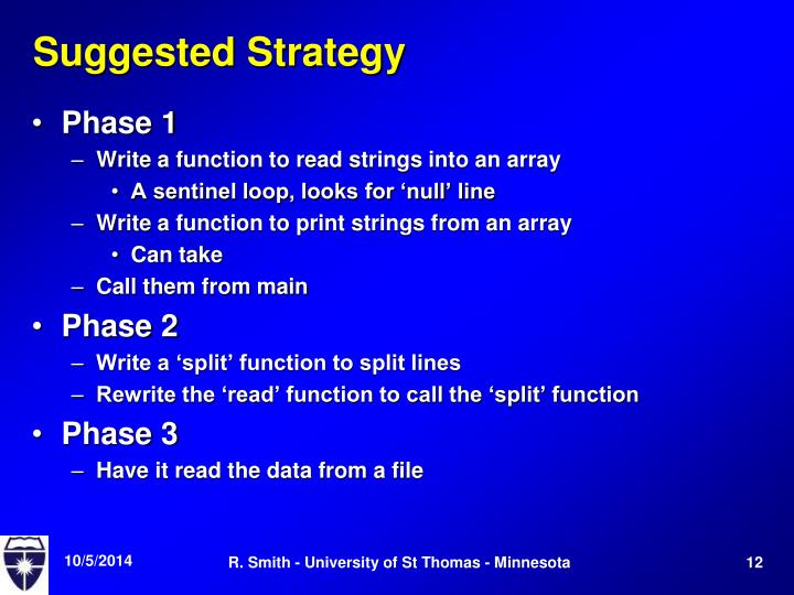 Suggested Strategy