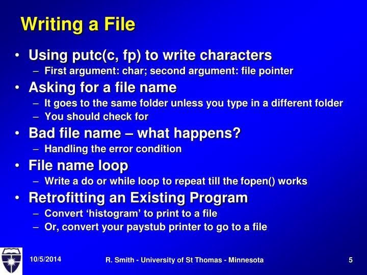 Writing a File