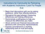instructions for community for partnering with academic institutions look for people that