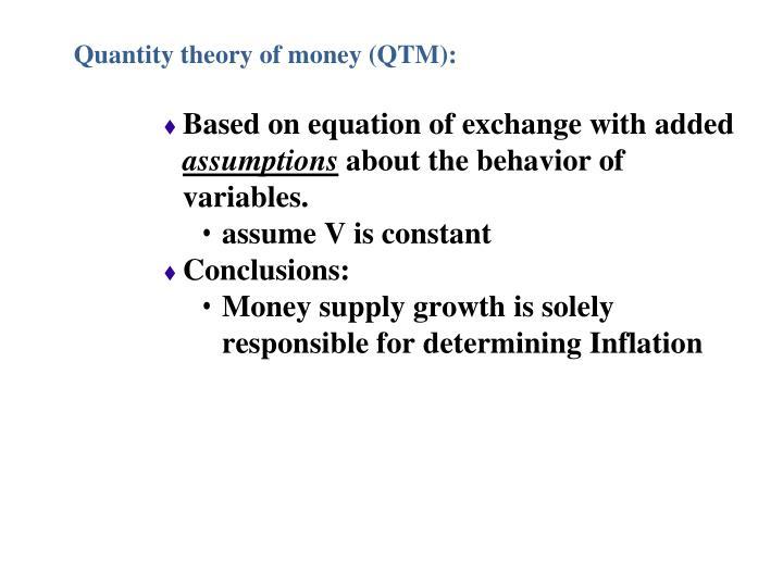Quantity theory of money (QTM):