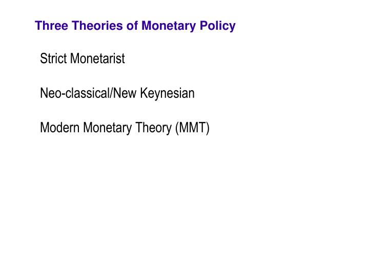 Three Theories of Monetary Policy