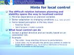 hints for local control