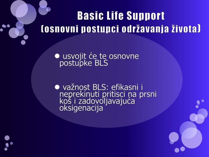 Basic life support osnovni postupci odr avanja ivota