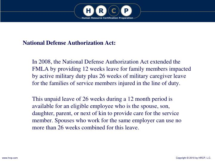 National Defense Authorization Act: