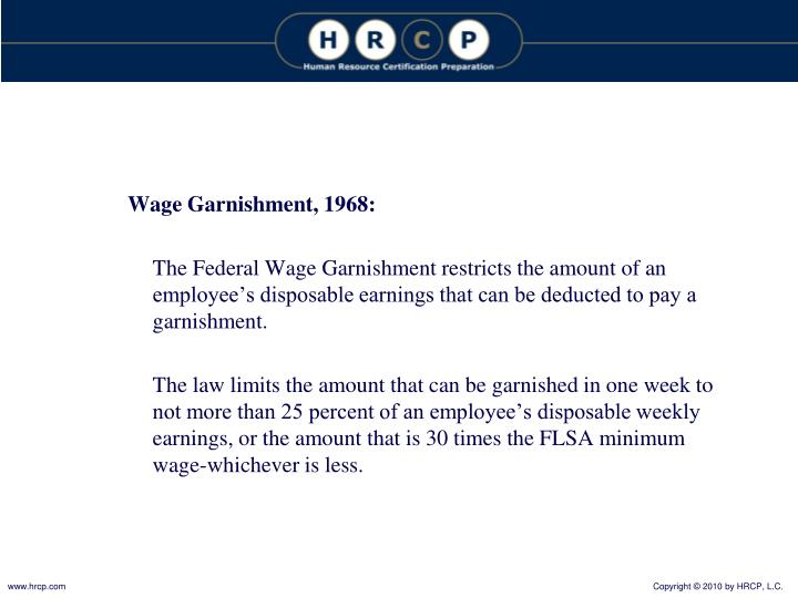 Wage Garnishment, 1968: