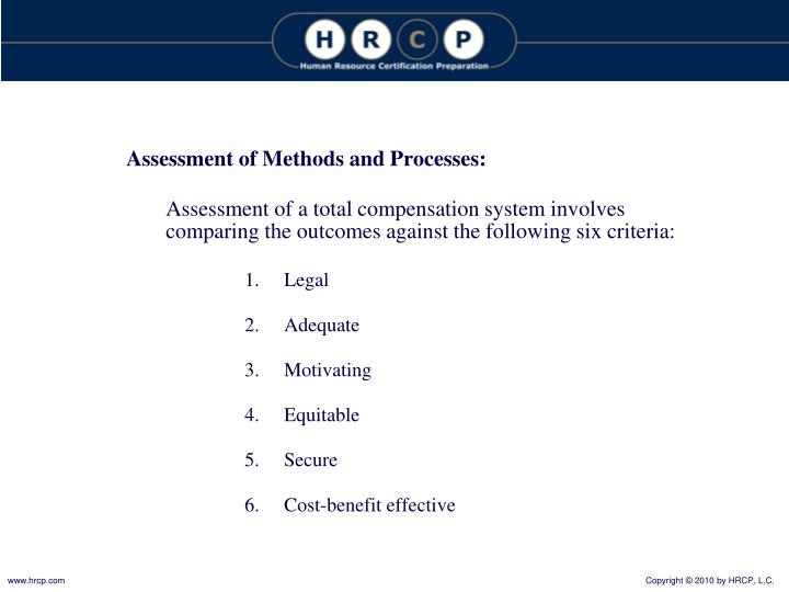 Assessment of Methods and Processes: