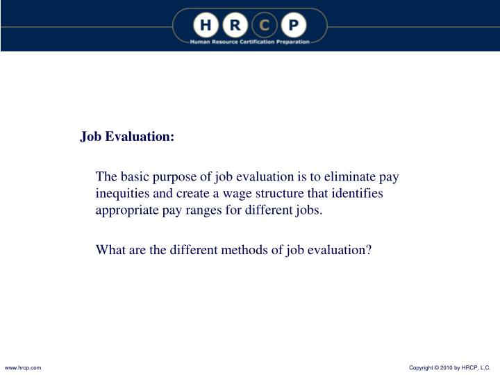 Job Evaluation: